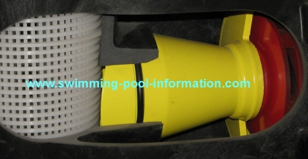 the yellow throat section provides a gradual reduction in size from the basket to the impeller face the hayward pump also has a similar throat section