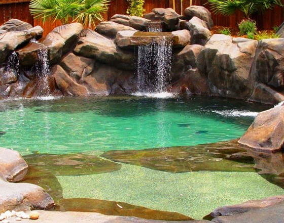 Home design natural swimming pool design - Beach entry swimming pool designs ...